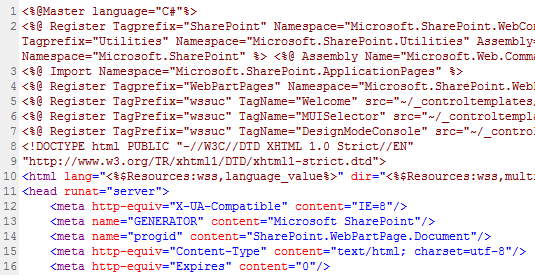 Master Page Code Snippet